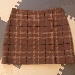 Brown plaid wool mini skirt